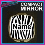 ZEBRA PRINT WITH PERSONALISED NAME GIFT COMPACT LADIES METAL HANDBAG MIRROR